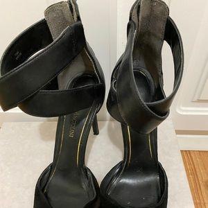 Black high heels velvet